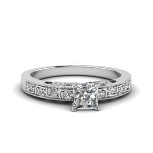 3/4 Ct. Princess Cut Vintage Style Ring