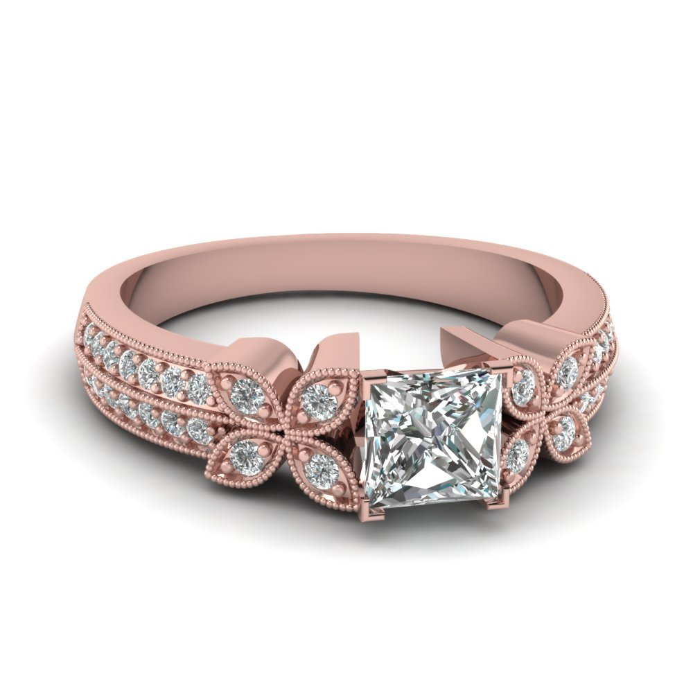 Princess Cut Diamond Milgrain Petal Ring In 14K Rose Gold