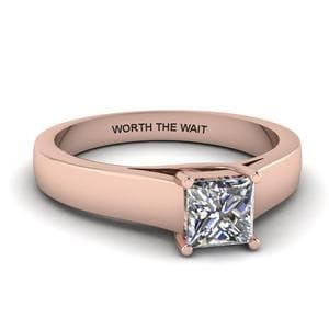 18K Rose Gold Solitaire Engraved Ring