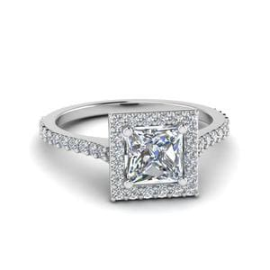 Princess Cut Diamond Petite Halo Engagement Ring In 14K White Gold