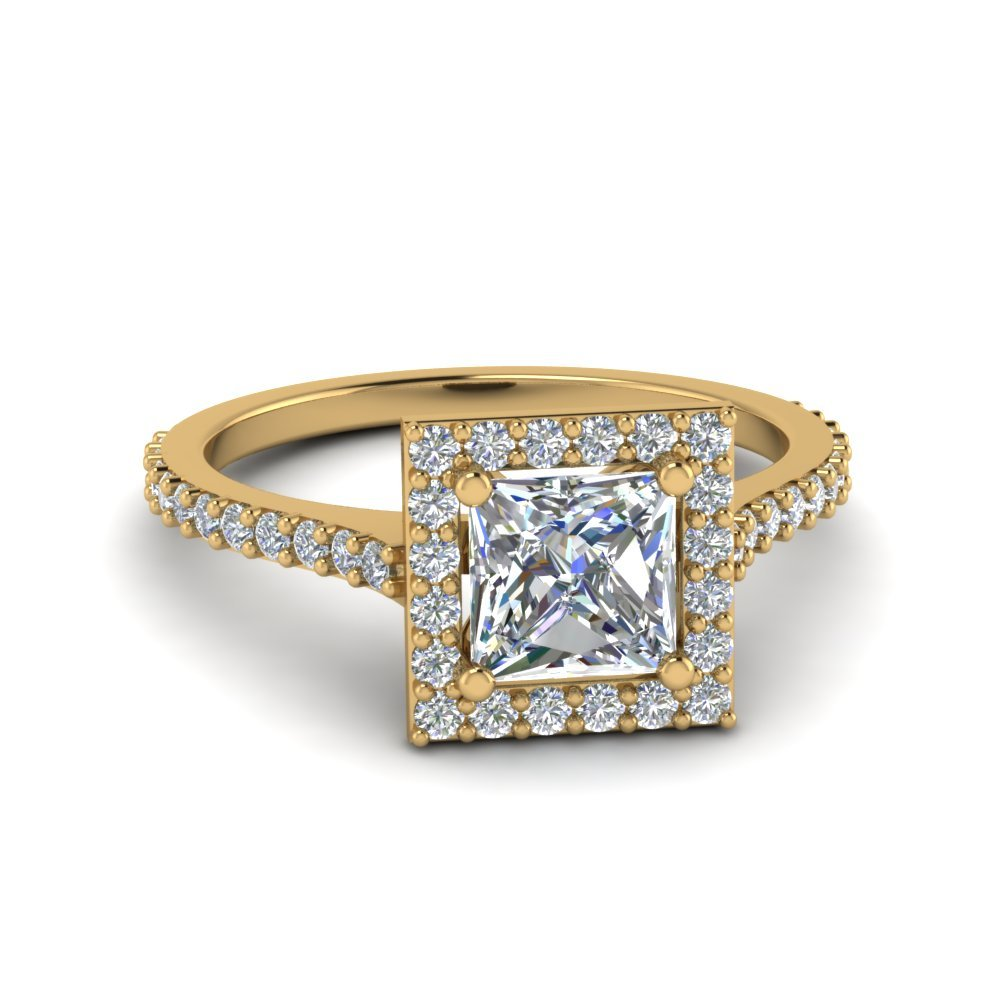 Princess Cut Diamond Petite Halo Engagement Ring In 18K Yellow Gold