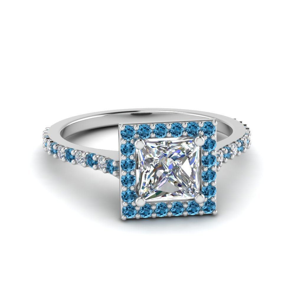 Princess Cut Diamond Petite Halo Engagement Ring With Blue Topaz In 14K White Gold