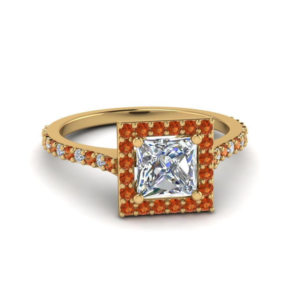 Princess Cut Diamond Petite Halo Engagement Ring With Orange Sapphire In 14K Yellow Gold