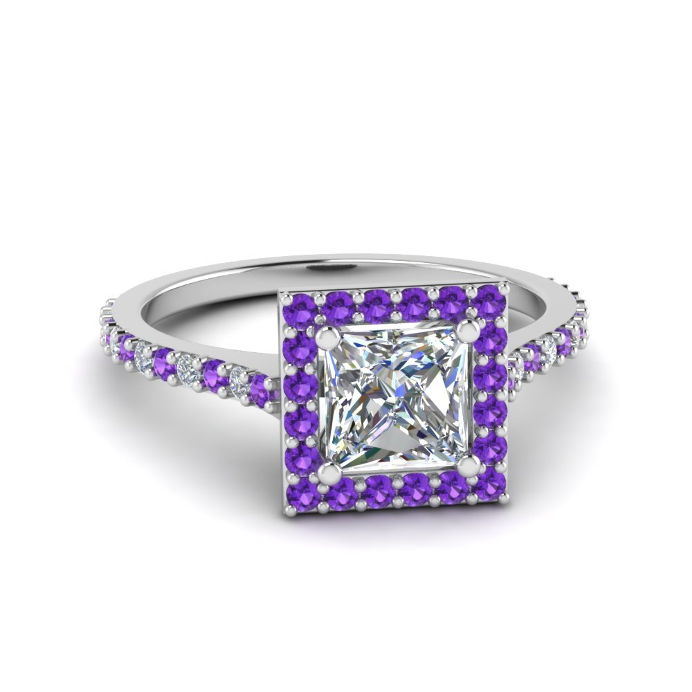 Princess Cut Diamond Petite Halo Engagement Ring With Violet Topaz In 950 Platinum