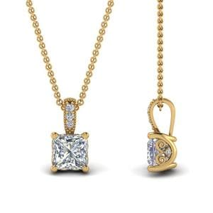 1 Ct. Princess Cut Diamond Filigree Pendant