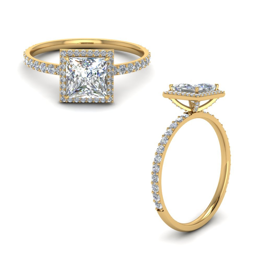 Prong Stud Halo Diamond Engagement Ring In 14K Yellow Gold