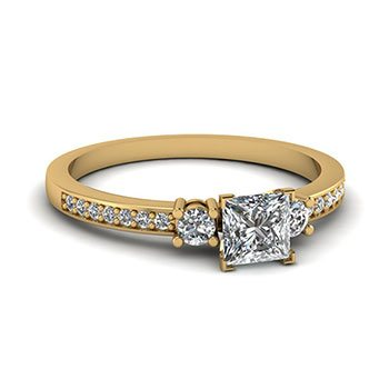 0.50 Ct. Princess Cut Diamond Engagement Rings