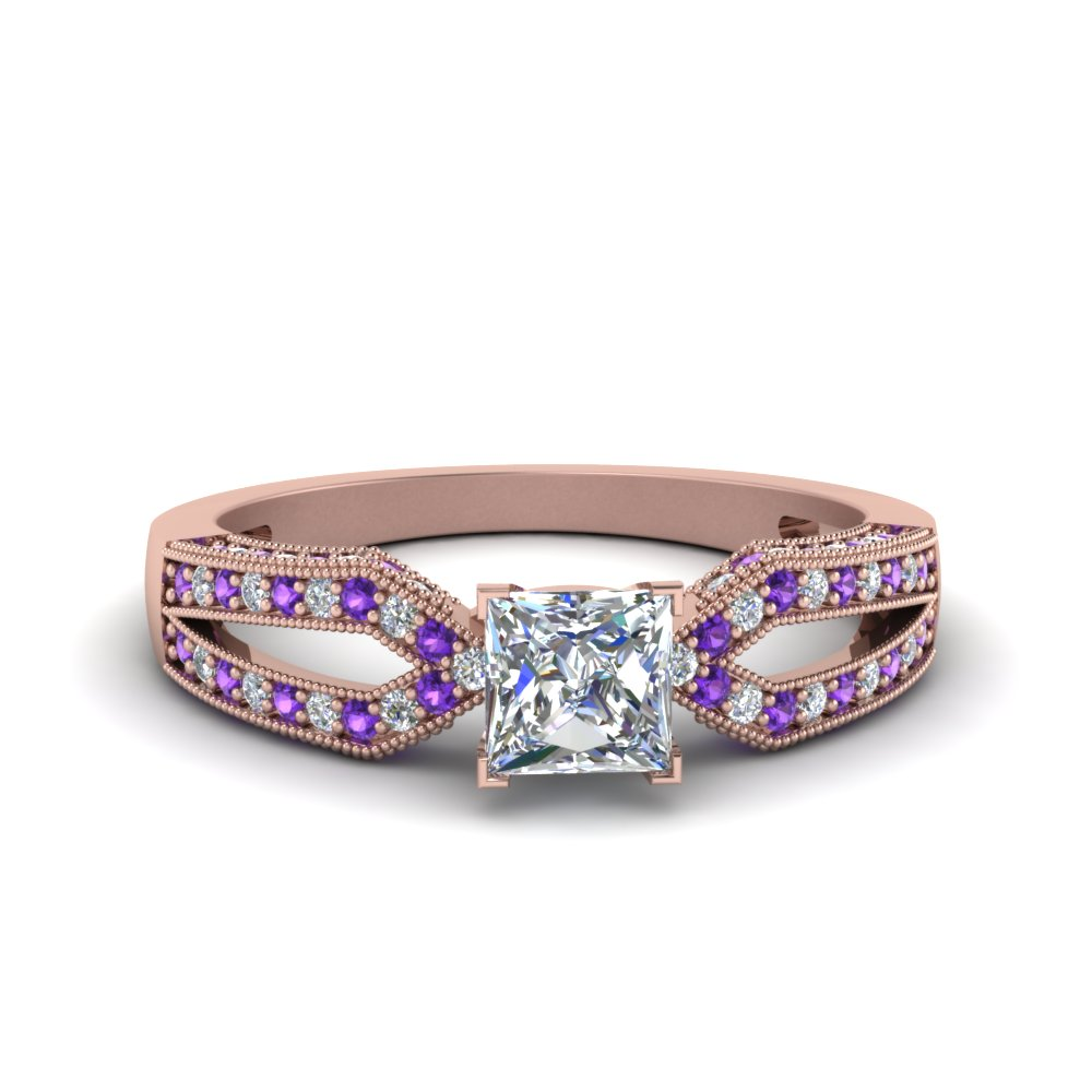 Antique Split Pave Princess Cut Diamond Engagement Ring With Violet Topaz In 14K Rose Gold