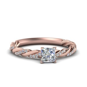 Twisted Vine Princess Cut Diamond Engagement Ring For Women In 14K Rose Gold