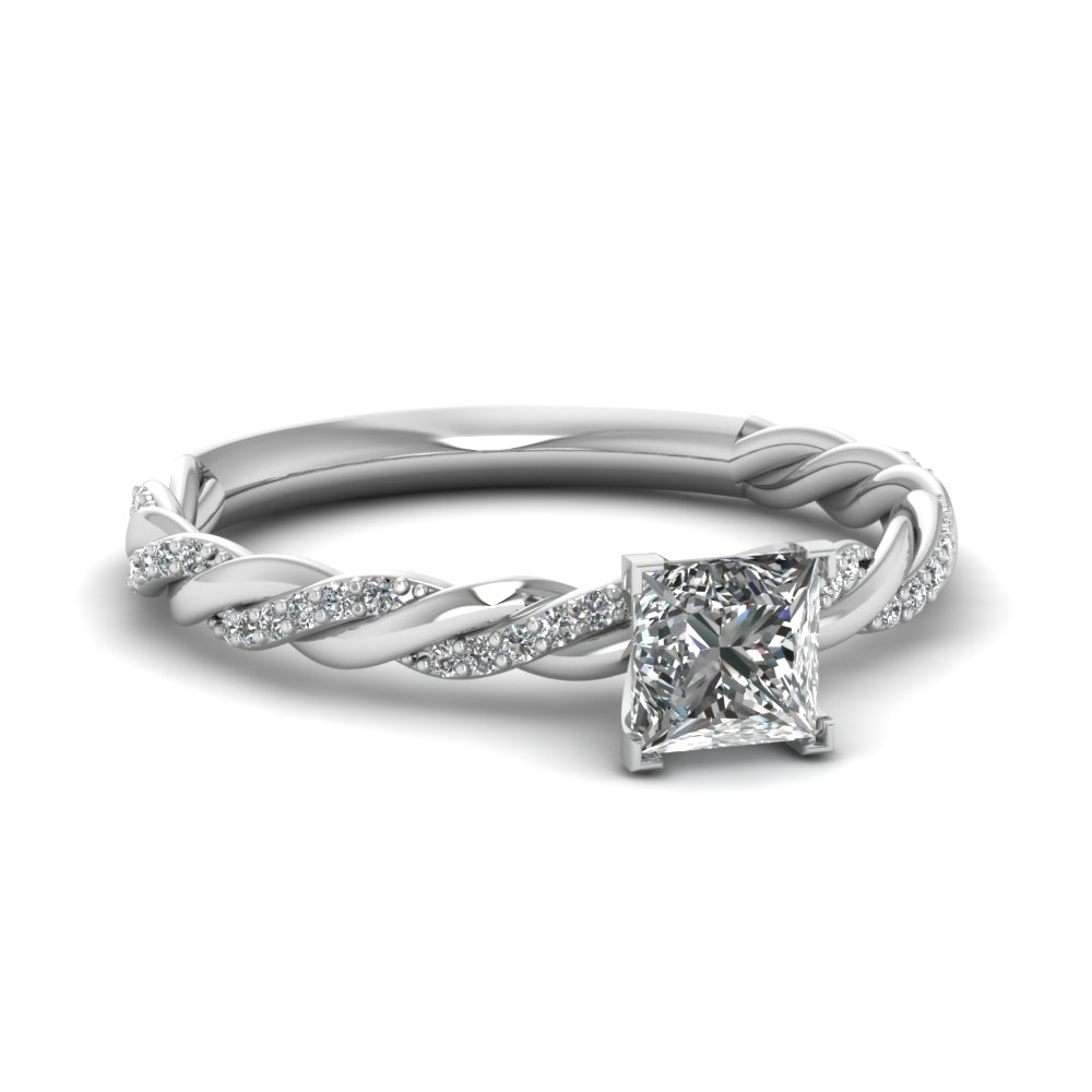 Twisted Vine Princess Cut Diamond Ring