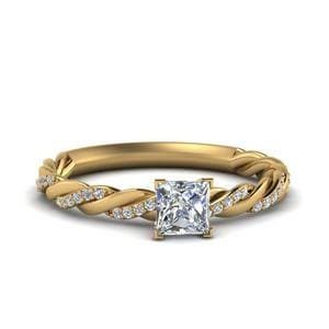 Twisted Vine Princess Cut Diamond Engagement Ring For Women In 14K Yellow Gold