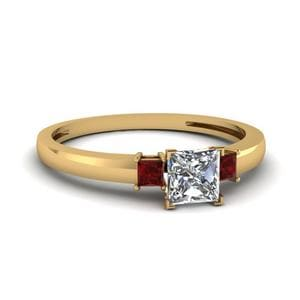3 Stone Princess Cut Engagement Ring With Ruby In 14K Yellow Gold
