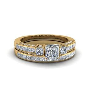 Milgrain 3 Stone Diamond Bridal Set