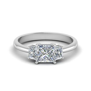 Princess Cut 3 Stone Rings
