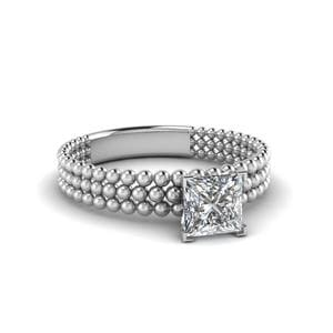 Tri Row Bead Solitaire Ring