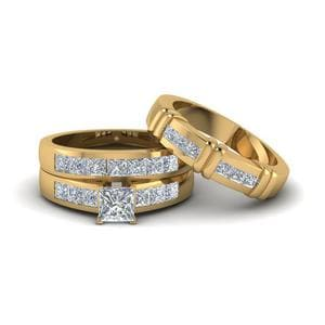 Princess Cut Matching Ring For Couples