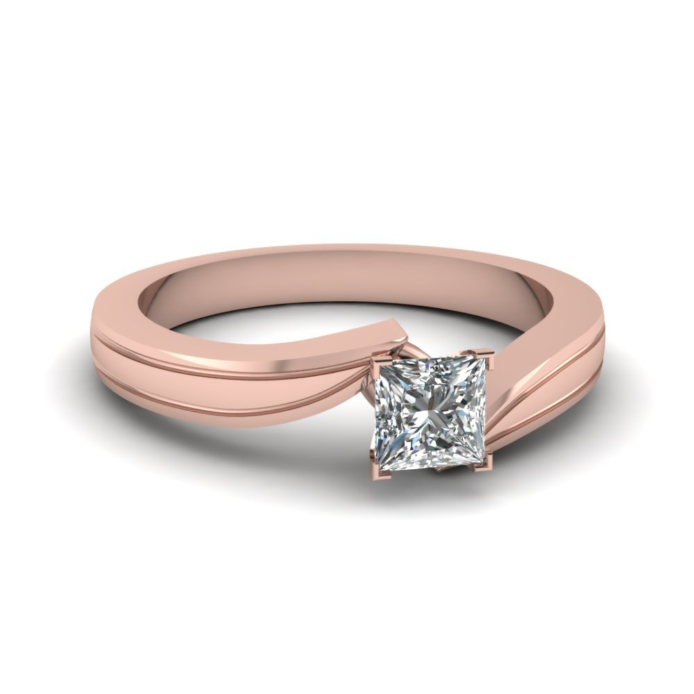 Princess Cut Diamond Twisted Solitaire Engagement Ring In 14K Rose Gold