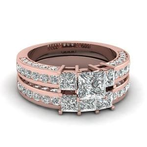 3 Stone Princess Cut Diamond Wedding Ring Set In 18K Rose Gold
