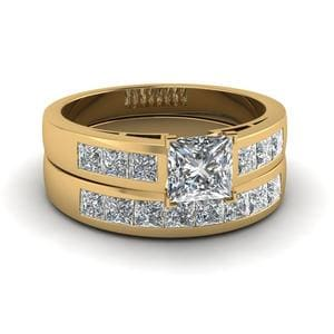 Princess Cut Channel Diamond Wedding Ring Set In 18K Yellow Gold