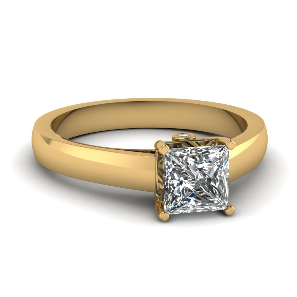 Princess Cut With Bezel Set Accent Ring