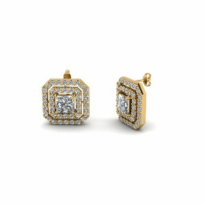 Double Halo Princess Cut Stud Earrings