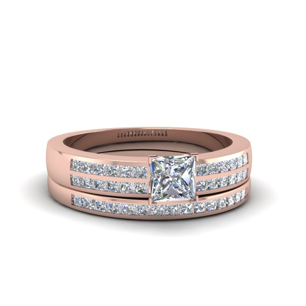 Princess Cut Double Row Channel Diamond Wide Bridal Set In 14K Rose Gold