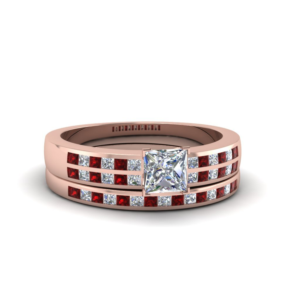 Princess Cut Double Row Channel Diamond Wide Bridal Set With Ruby In 18K Rose Gold