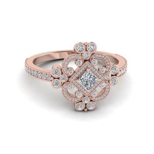 Princess Cut Edwardian Vintage Look Halo Diamond Engagement Ring In 14K Rose Gold
