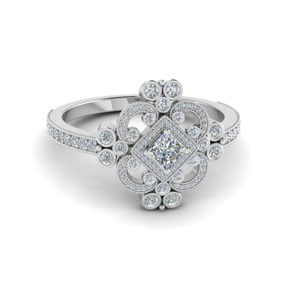 Edwardian Vintage Look Halo Diamond Ring