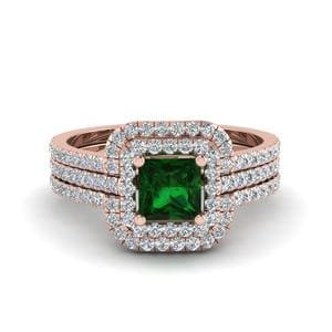 Princess Cut Emerald Halo Ring
