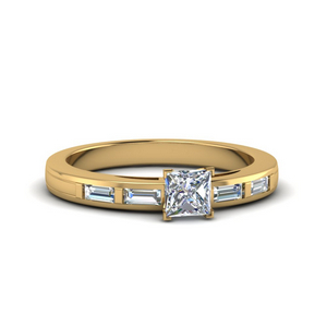 Baguette Accents Engagement Ring