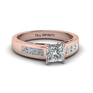 Princess Cut Engraved Channel Accent Diamond Engagement Ring In 14K Rose Gold