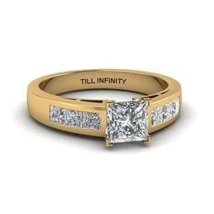 Princess Cut Engraved Diamond Ring