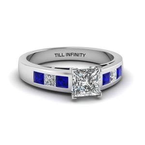 Engraved Princess Cut Sapphire Ring