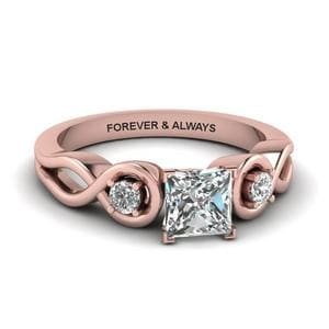 Princess Cut Engraved Three Stone Diamond Engagement Ring In 14K Rose Gold