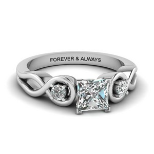 Engraved 3 Stone Diamond Ring