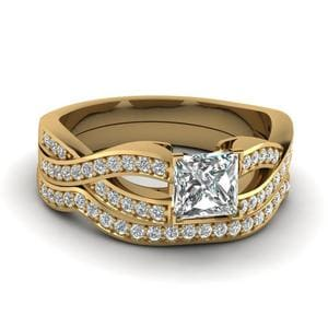 Princess Cut Entwined Pave Diamond Bridal Set In 14K Yellow Gold