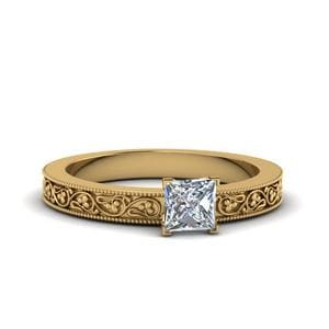Princess Cut Filigree Solitaire Diamond Engagement Ring For Women In 14K Yellow Gold