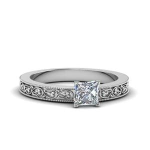 Princess Cut Filigree Diamond Ring