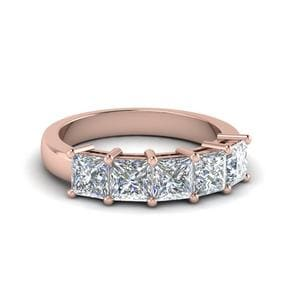 Princess Cut Five Stone Wedding Band