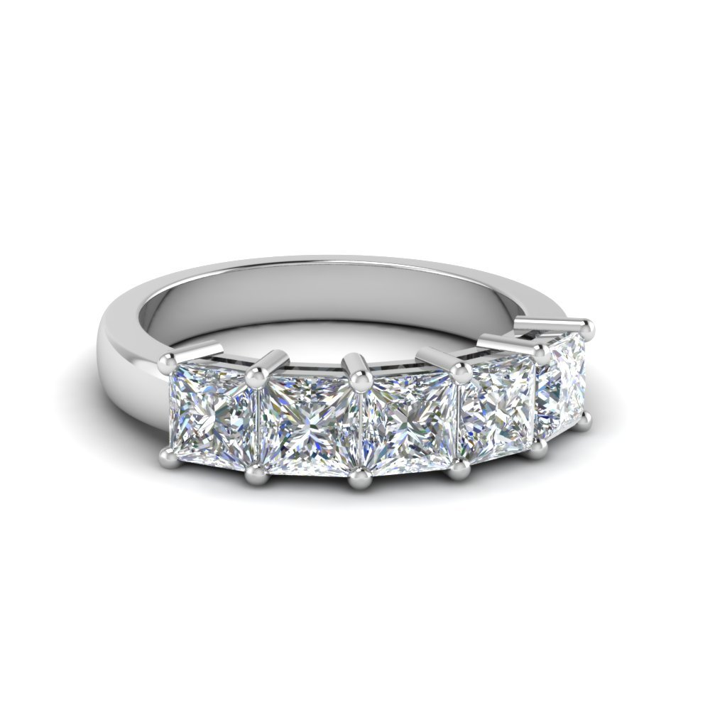 Platinum Princess Cut Five Stone Band