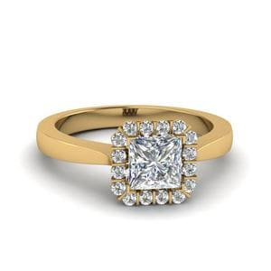 Princess Cut Floating Halo Diamond Engagement Ring In 14K Yellow Gold