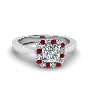 White Gold Ruby Halo Ring