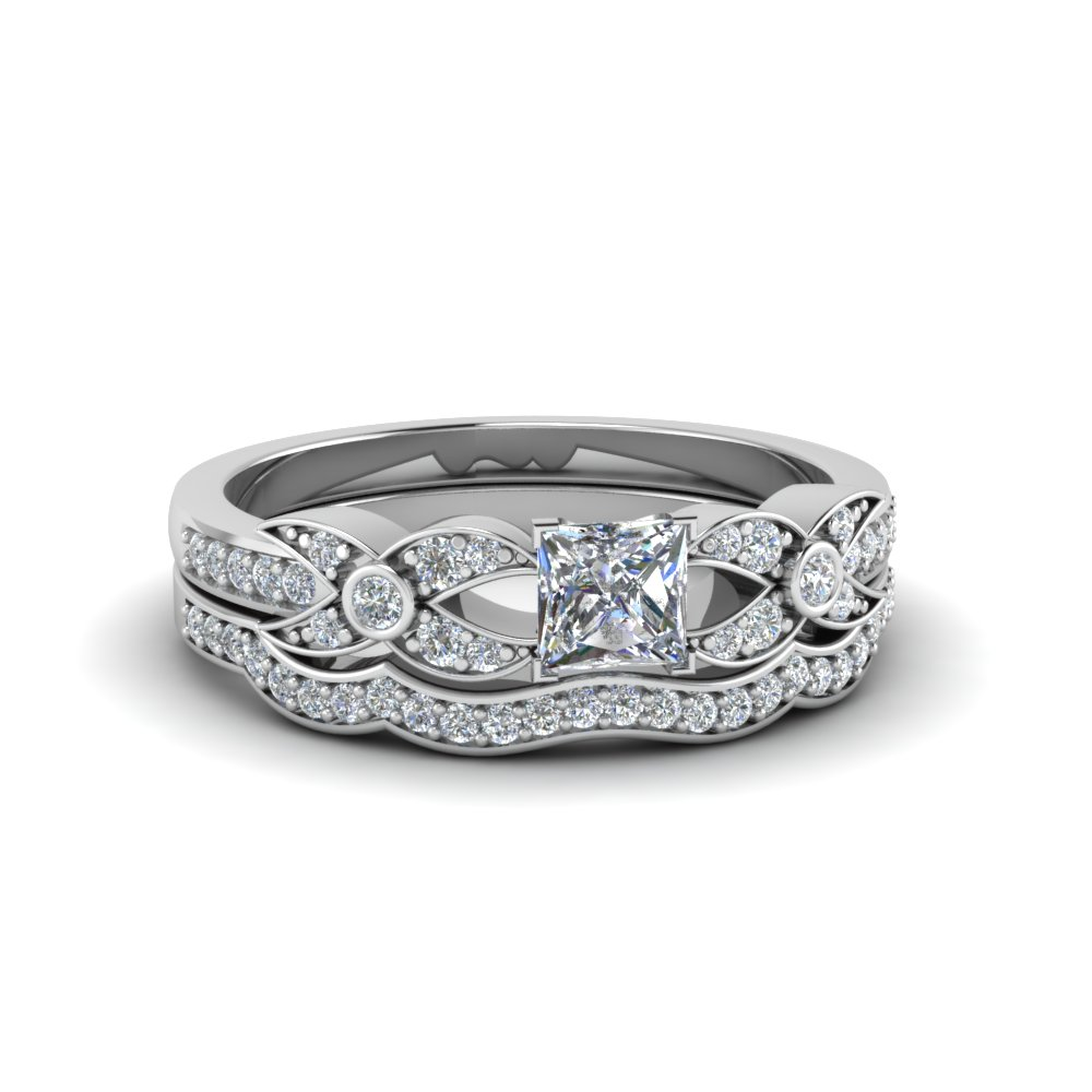 Princess Cut Platinum Wedding Set