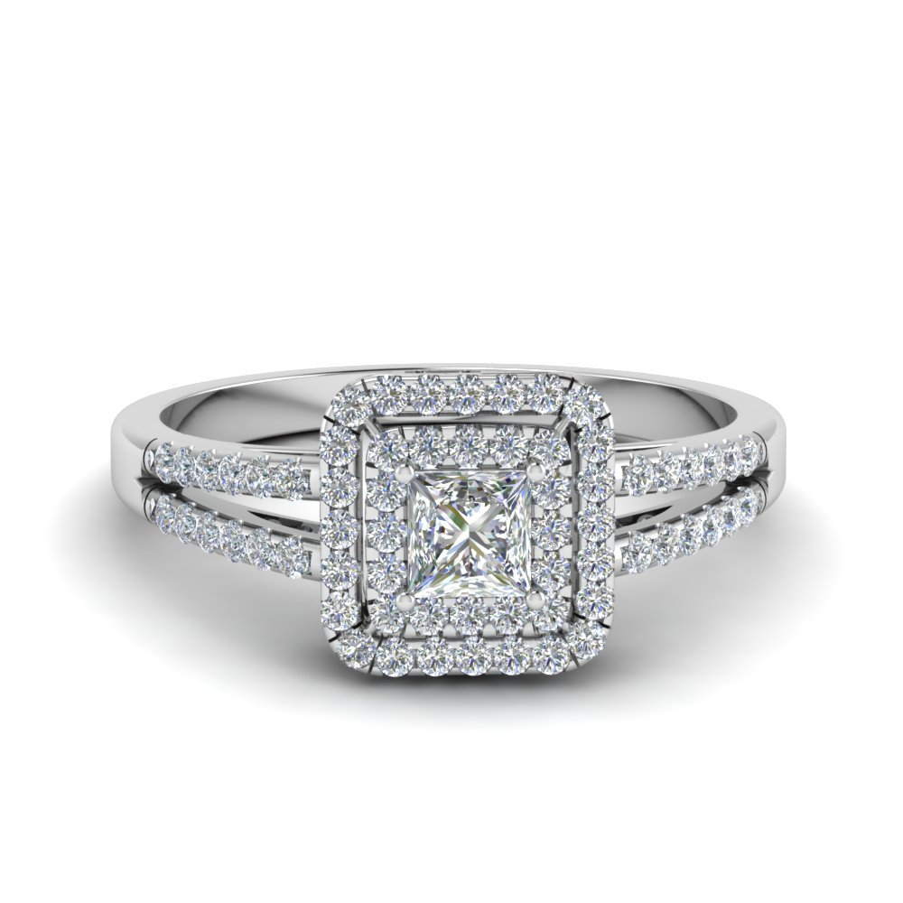 princess cut french pave double halo diamond engagement. Black Bedroom Furniture Sets. Home Design Ideas