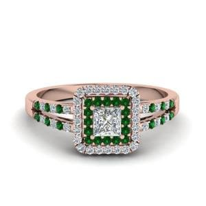 Double Halo Pave Emerald Ring