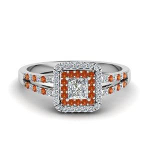 Split Band Orange Sapphire Ring