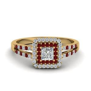 French Pave Split Ruby Ring