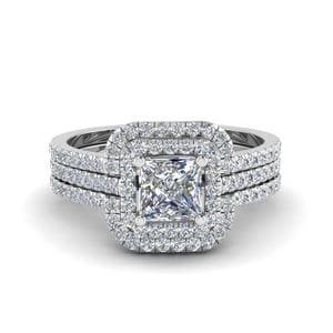 Princess Cut Halo Diamond Engagement Ring Enhancer In 18K White Gold