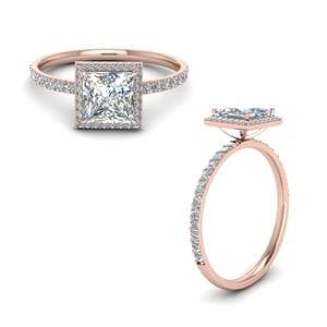 Princess Cut Halo Diamond Ring In 14K Rose Gold
